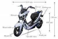 Kích thước xe máy điện Aima Jeek 2017