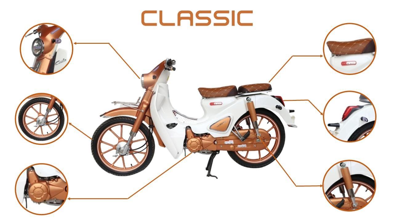 Xe máy Cub Classic màu đồng bản độ