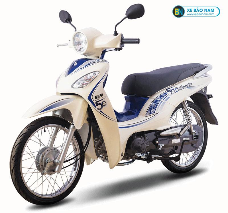 Xe máy Angela 50cc Sym màu trắng viền xanh