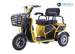 Xe máy điện 3 bánh 2 chỗ ngồi đa năng màu vàng